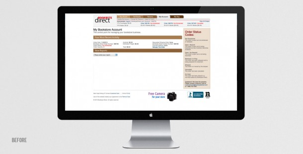 Bookbyte Direct's account management screen BEFORE redesign