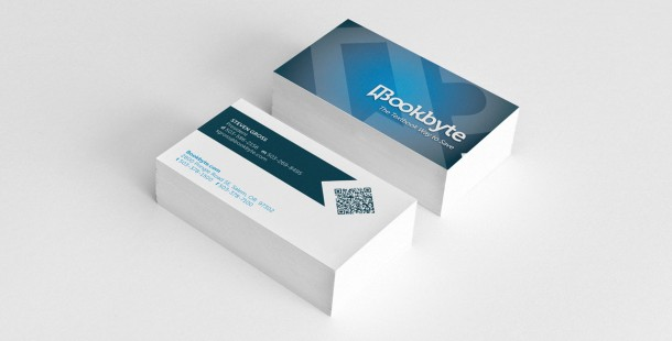 Bookbyte's new business cards include a scan-able QR code.