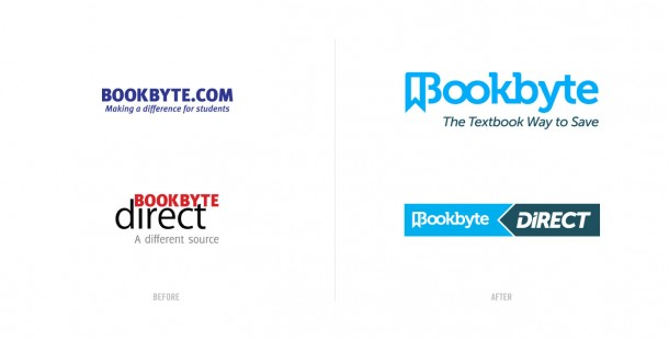Bookbyte's B2C and B2B brands before and after the redesign.