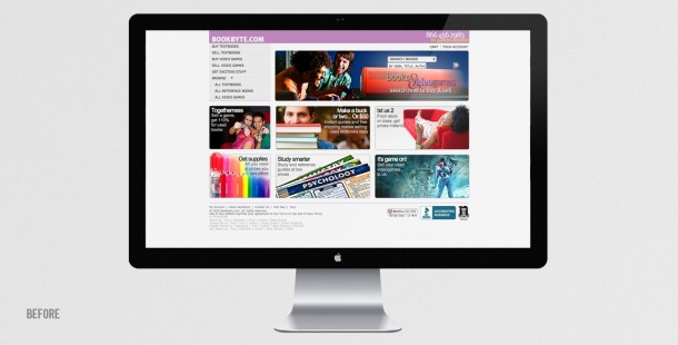 Bookbyte's website BEFORE the redesign and repositioning