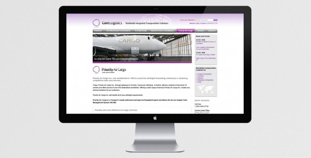 Core Logistics redesigned website showing secondary page structure