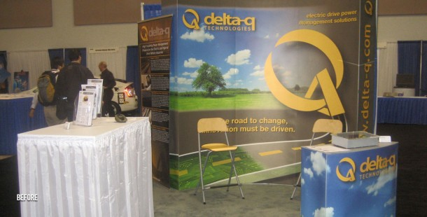 Delta-Q's trade show display BEFORE the redesign and repositioning