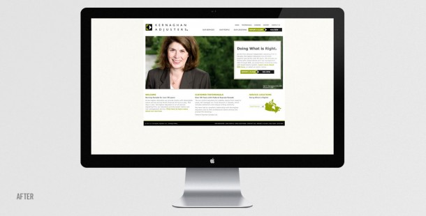 Kernaghan's website after the redesign.