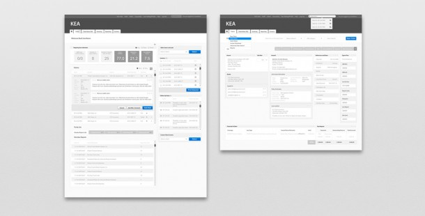 Wireframes for Kernaghan's KEA web application