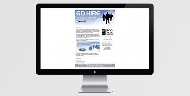 """To follow up the trade show, MaxHire sent out """"Go Hire"""" branded emails"""