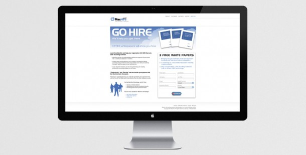 """The """"Go Hire"""" campaign email directed leads to MaxHire's white paper landing page"""