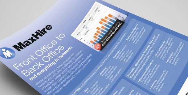 MaxHire's sales collateral included product data sheets, service slick sheets, and whitepapers