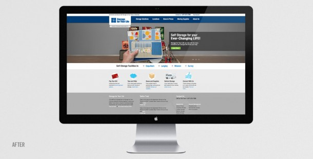 Storage For Your Life's website after redesign and repositioning.