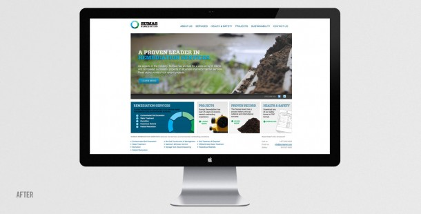 Sumas Remediation's website after the redesign.
