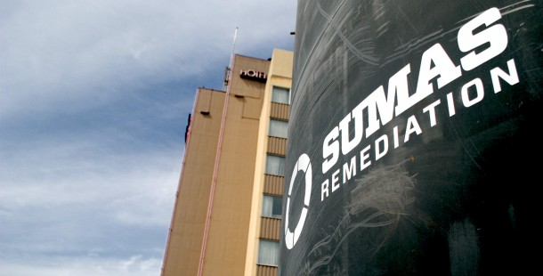 Sumas Remediation's brand redesign included new company signage at work sites and on equipment.