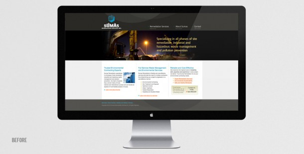 Sumas Remediation's interim website during the rebranding process.