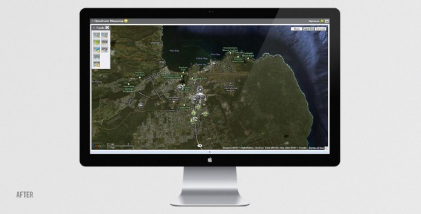 Fullscreen view of Quadrant's Mapping feature.