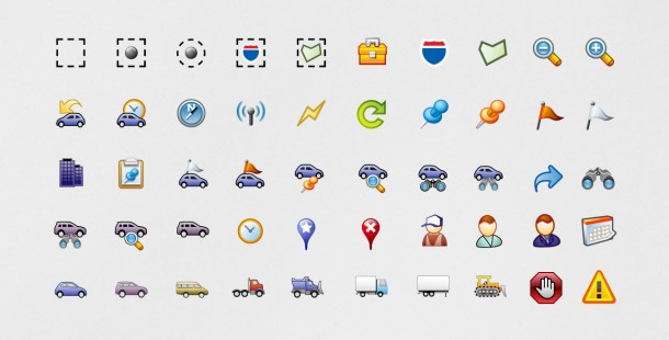 Some of the icon sets developed for the new interface.
